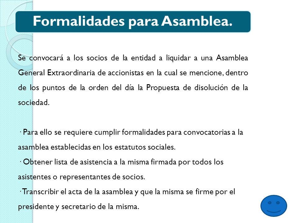 Formalidades para Asamblea.