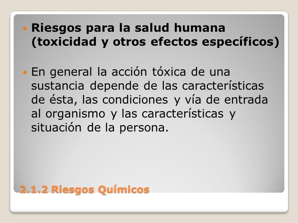 Riesgos para la salud humana (toxicidad y otros efectos específicos)