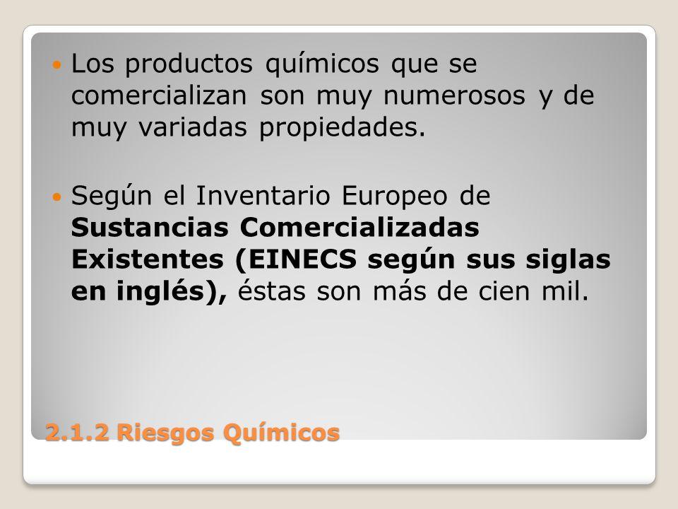 Los productos químicos que se comercializan son muy numerosos y de muy variadas propiedades.
