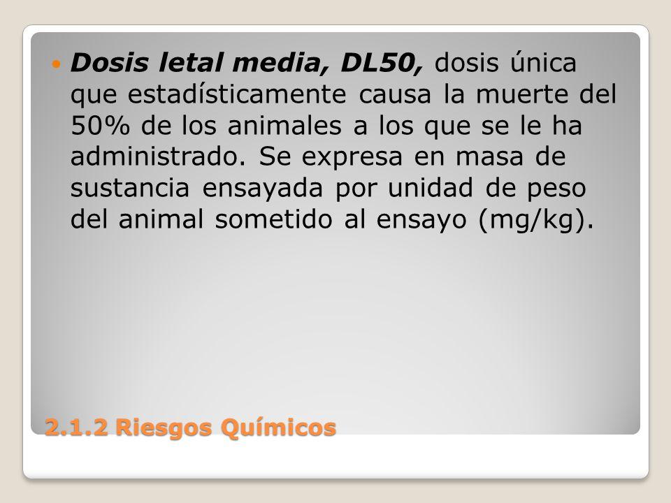 Dosis letal media, DL50, dosis única que estadísticamente causa la muerte del 50% de los animales a los que se le ha administrado. Se expresa en masa de sustancia ensayada por unidad de peso del animal sometido al ensayo (mg/kg).