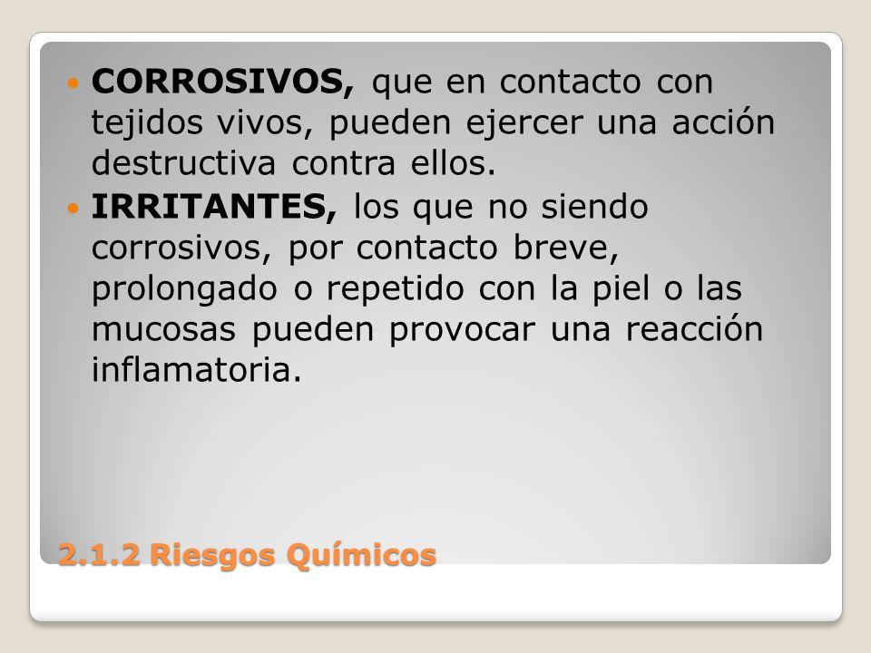 CORROSIVOS, que en contacto con tejidos vivos, pueden ejercer una acción destructiva contra ellos.