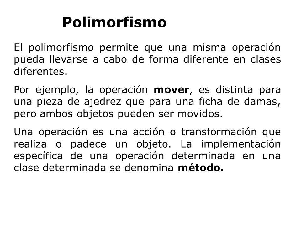 Polimorfismo El polimorfismo permite que una misma operación pueda llevarse a cabo de forma diferente en clases diferentes.