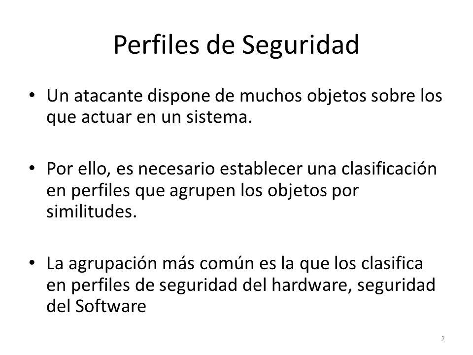 Perfiles de Seguridad Un atacante dispone de muchos objetos sobre los que actuar en un sistema.