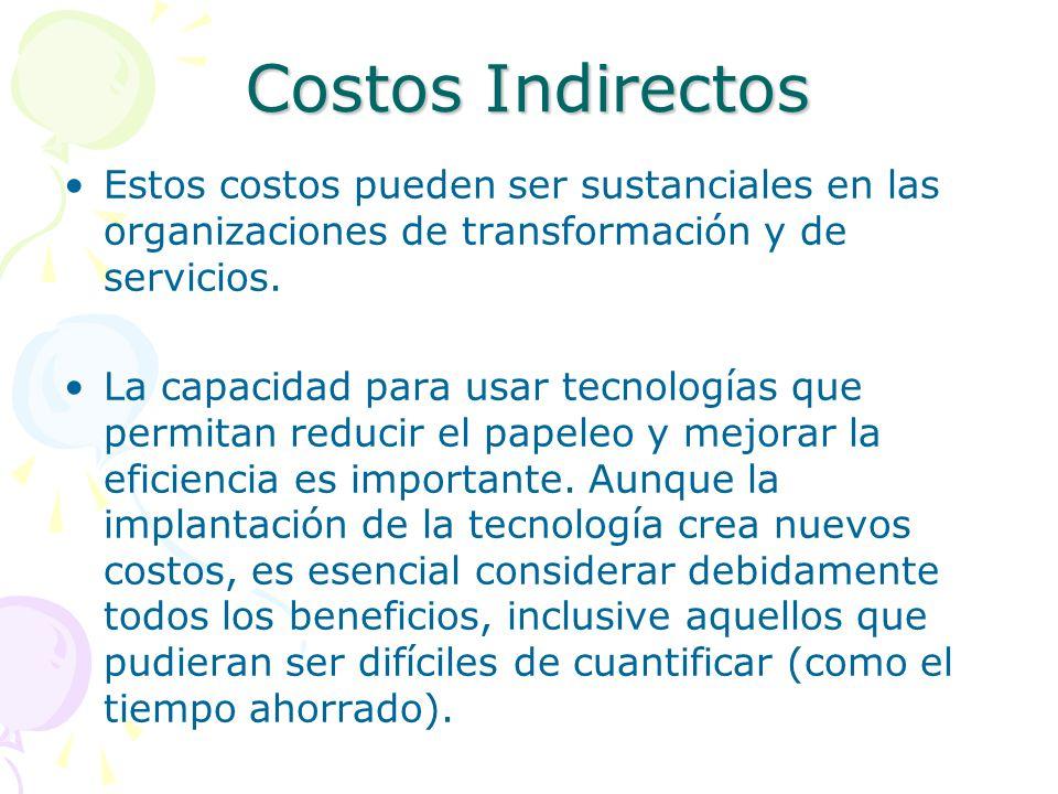Costos Indirectos Estos costos pueden ser sustanciales en las organizaciones de transformación y de servicios.