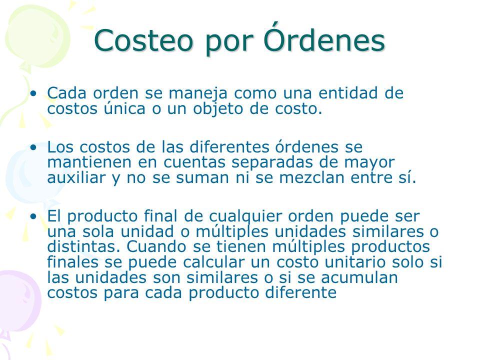 Costeo por Órdenes Cada orden se maneja como una entidad de costos única o un objeto de costo.