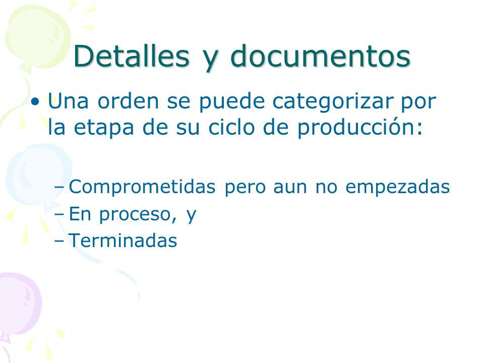 Detalles y documentos Una orden se puede categorizar por la etapa de su ciclo de producción: Comprometidas pero aun no empezadas.