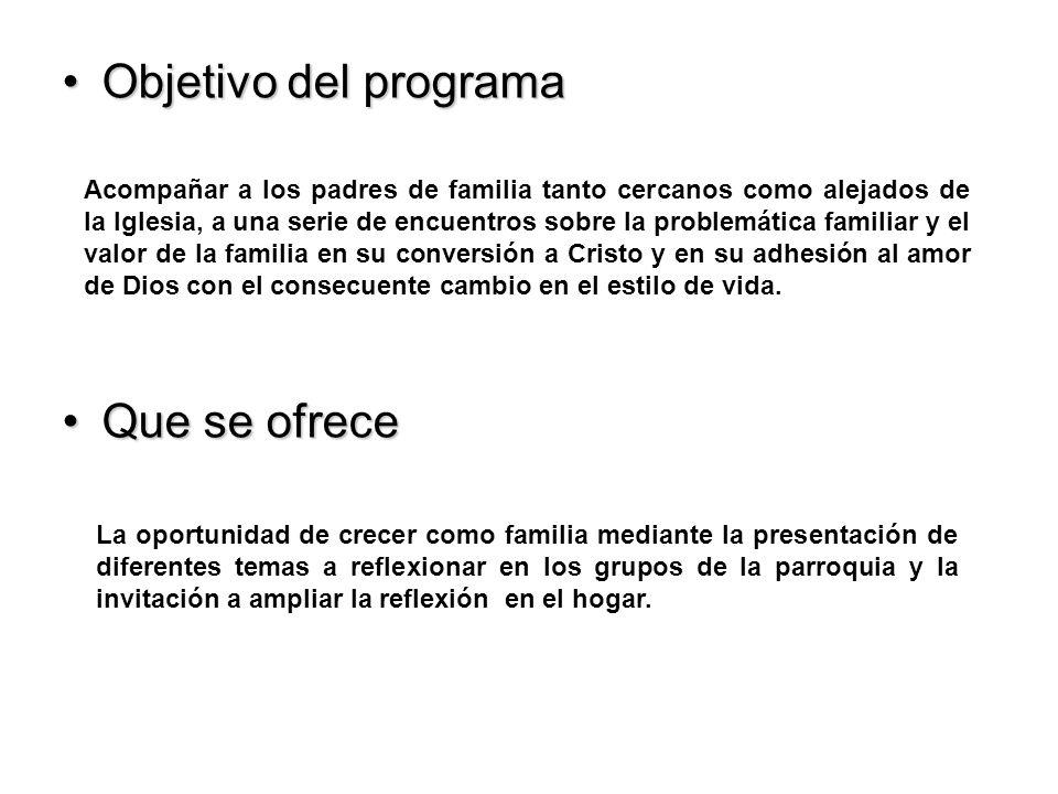 Objetivo del programa Que se ofrece
