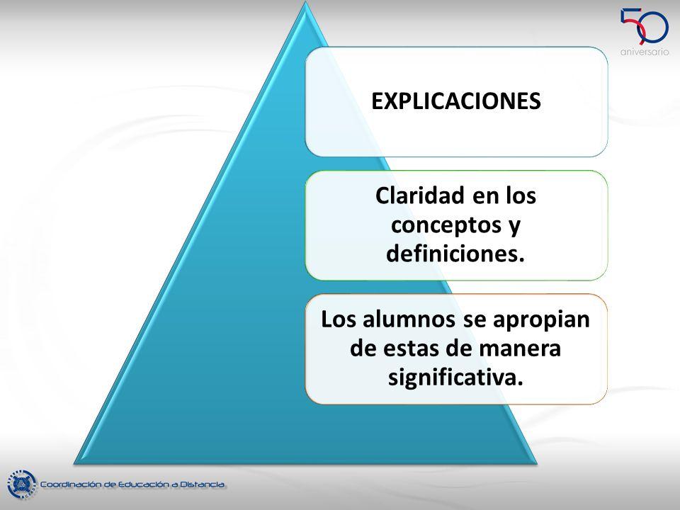 Claridad en los conceptos y definiciones.