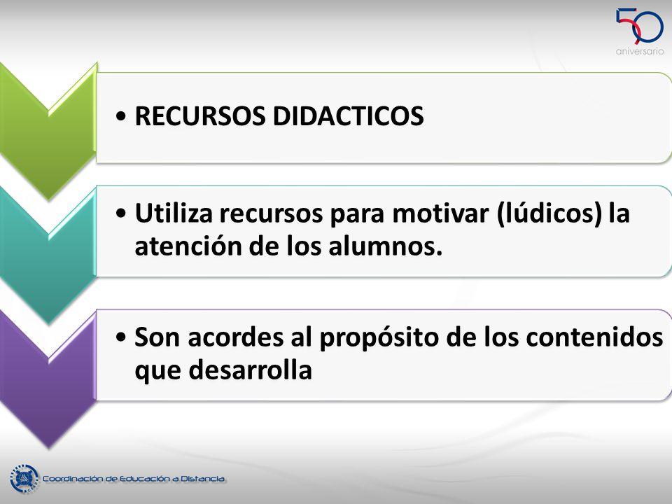RECURSOS DIDACTICOS Utiliza recursos para motivar (lúdicos) la atención de los alumnos.