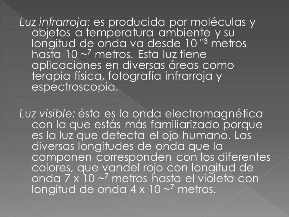 Luz infrarroja: es producida por moléculas y objetos a temperatura ambiente y su longitud de onda va desde 10 3 metros hasta 10 ~7 metros. Esta luz tiene aplicaciones en diversas áreas como terapia física, fotografía infrarroja y espectroscopia.