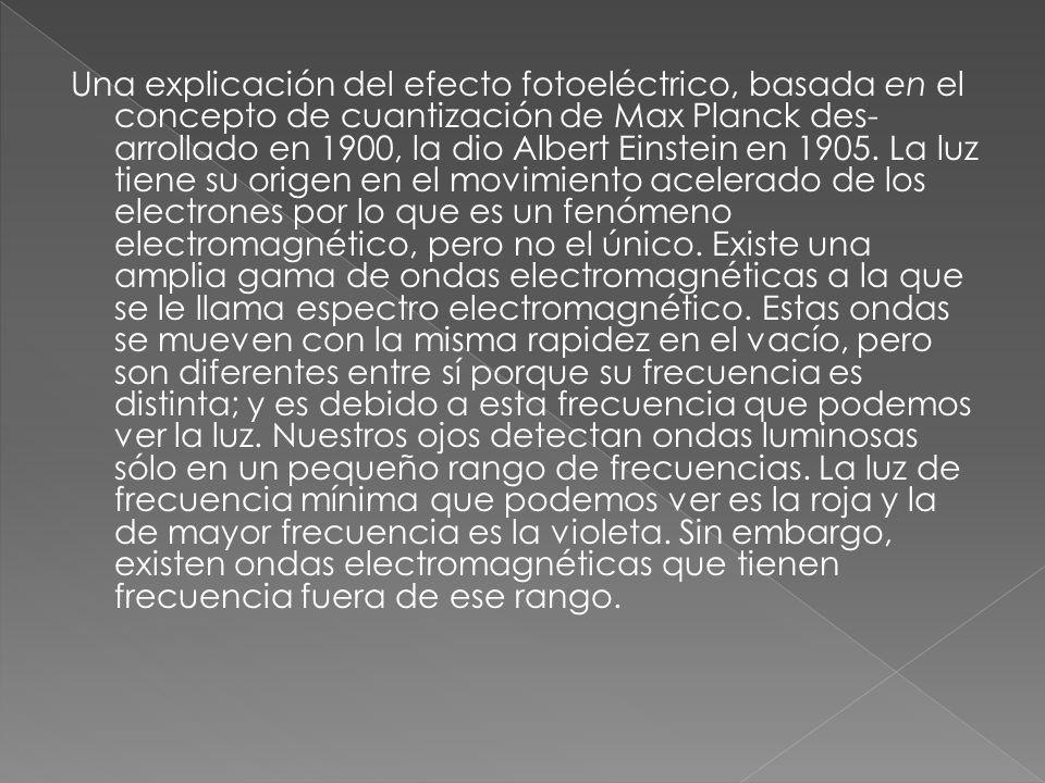 Una explicación del efecto fotoeléctrico, basada en el concepto de cuantización de Max Planck desarrollado en 1900, la dio Albert Einstein en 1905.