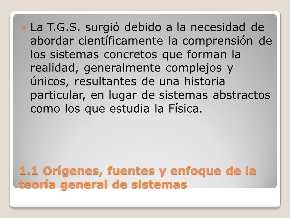 1.1 Orígenes, fuentes y enfoque de la teoría general de sistemas