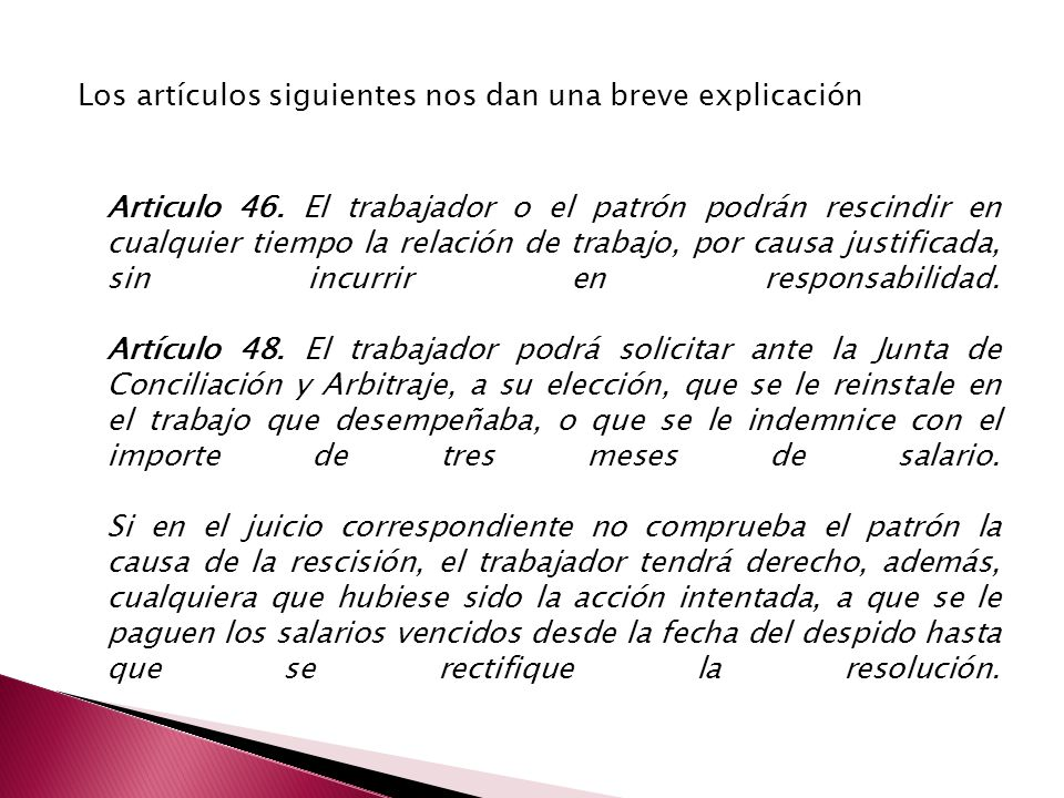 Los artículos siguientes nos dan una breve explicación Articulo 46