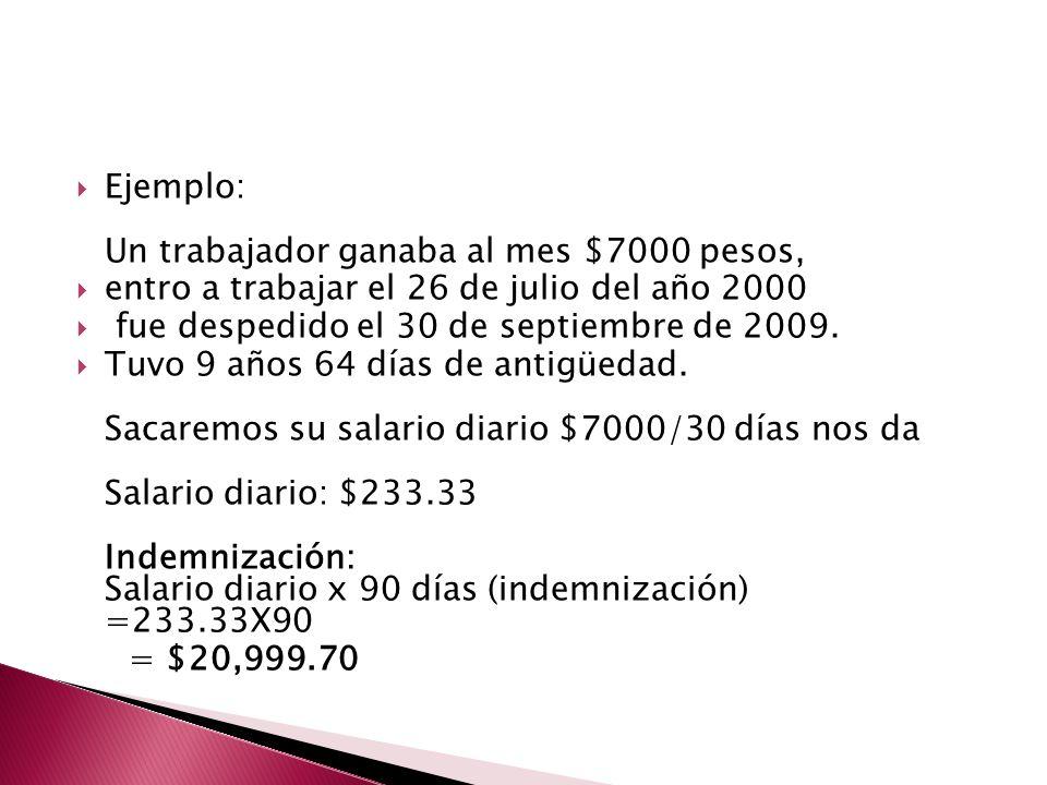 Ejemplo: Un trabajador ganaba al mes $7000 pesos,
