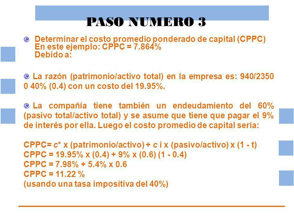 PASO NUMERO 3 Determinar el costo promedio ponderado de capital (CPPC) En este ejemplo: CPPC = 7.864% Debido a:
