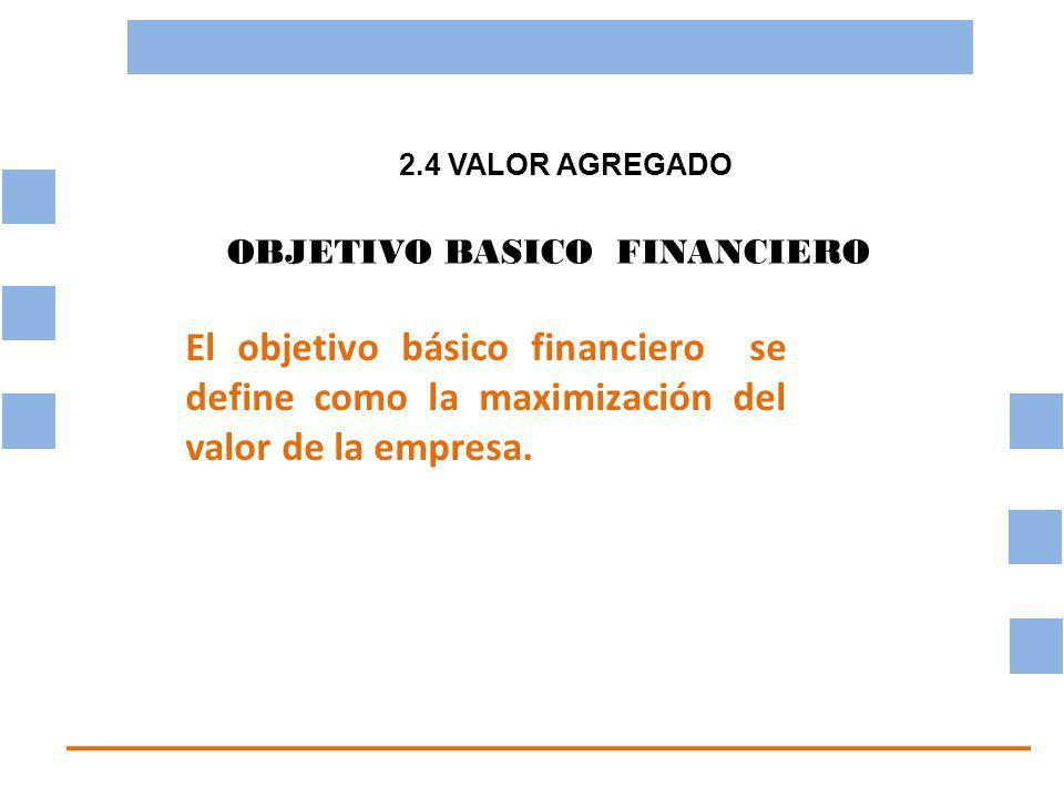 2.4 VALOR AGREGADO OBJETIVO BASICO FINANCIERO. El objetivo básico financiero se define como la maximización del valor de la empresa.