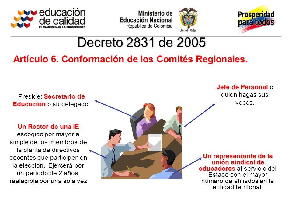 Decreto 2831 de 2005 Artículo 6. Conformación de los Comités Regionales. Preside: Secretario de Educación o su delegado.