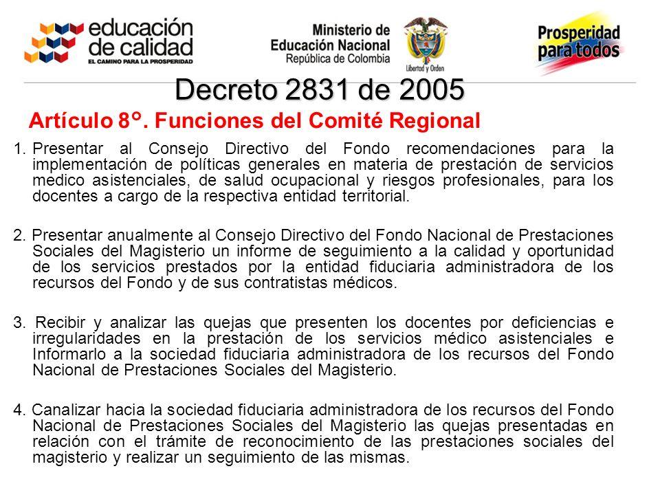 Decreto 2831 de 2005 Artículo 8°. Funciones del Comité Regional