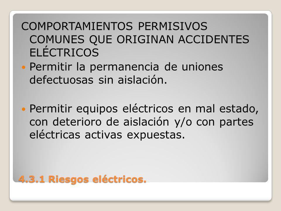 COMPORTAMIENTOS PERMISIVOS COMUNES QUE ORIGINAN ACCIDENTES ELÉCTRICOS