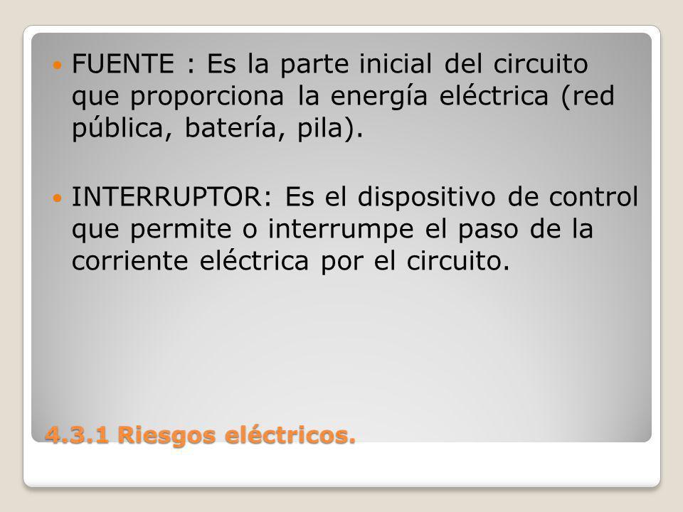 FUENTE : Es la parte inicial del circuito que proporciona la energía eléctrica (red pública, batería, pila).