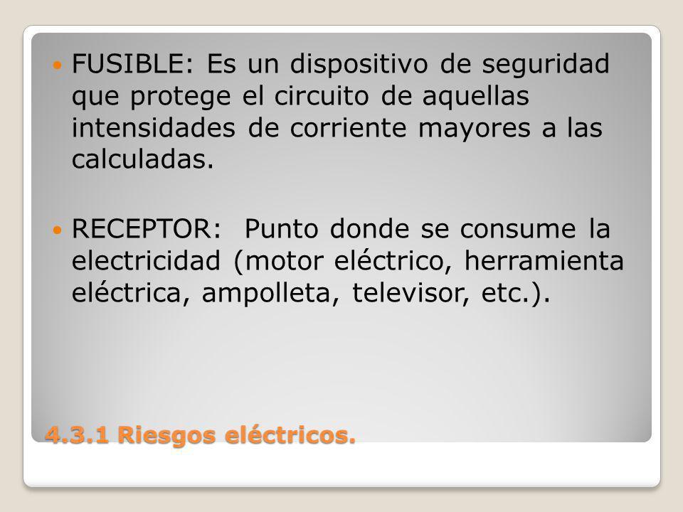 FUSIBLE: Es un dispositivo de seguridad que protege el circuito de aquellas intensidades de corriente mayores a las calculadas.