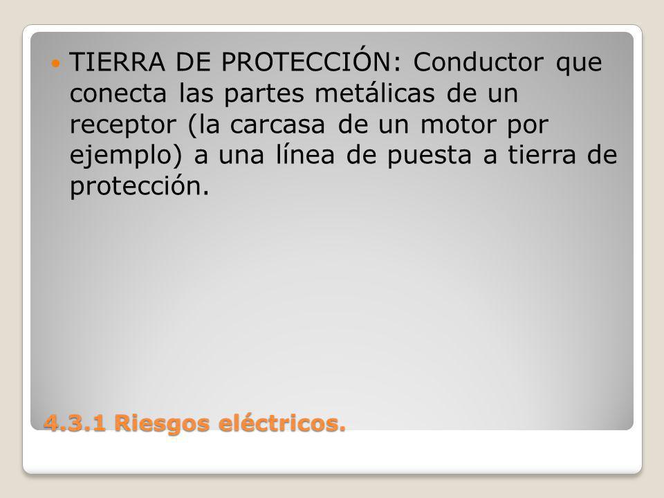 TIERRA DE PROTECCIÓN: Conductor que conecta las partes metálicas de un receptor (la carcasa de un motor por ejemplo) a una línea de puesta a tierra de protección.