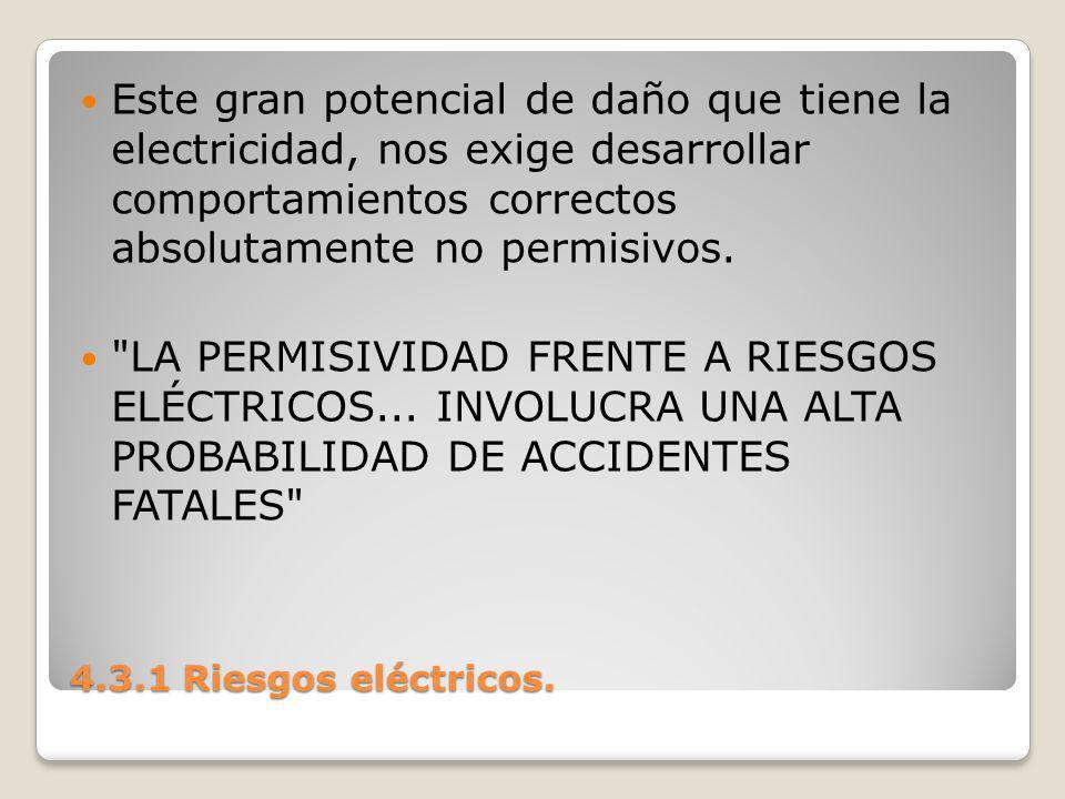Este gran potencial de daño que tiene la electricidad, nos exige desarrollar comportamientos correctos absolutamente no permisivos.