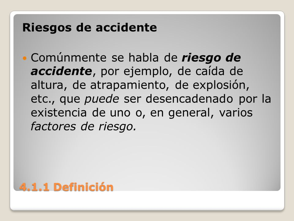Riesgos de accidente