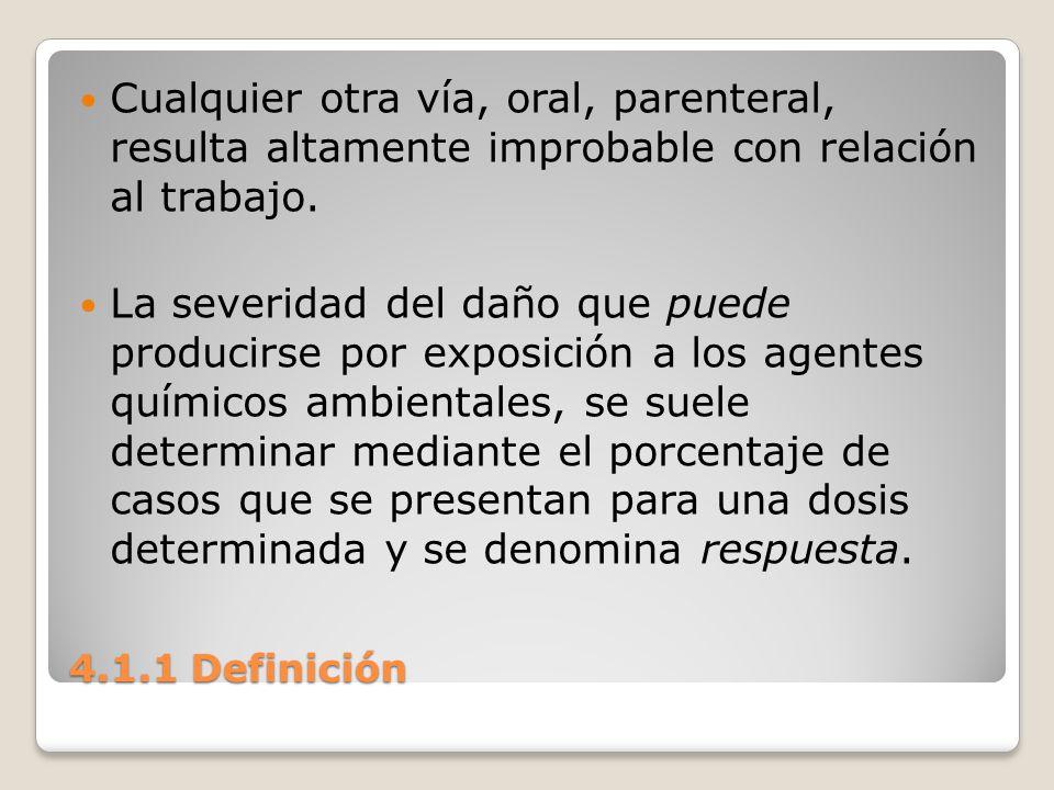 Cualquier otra vía, oral, parenteral, resulta altamente improbable con relación al trabajo.