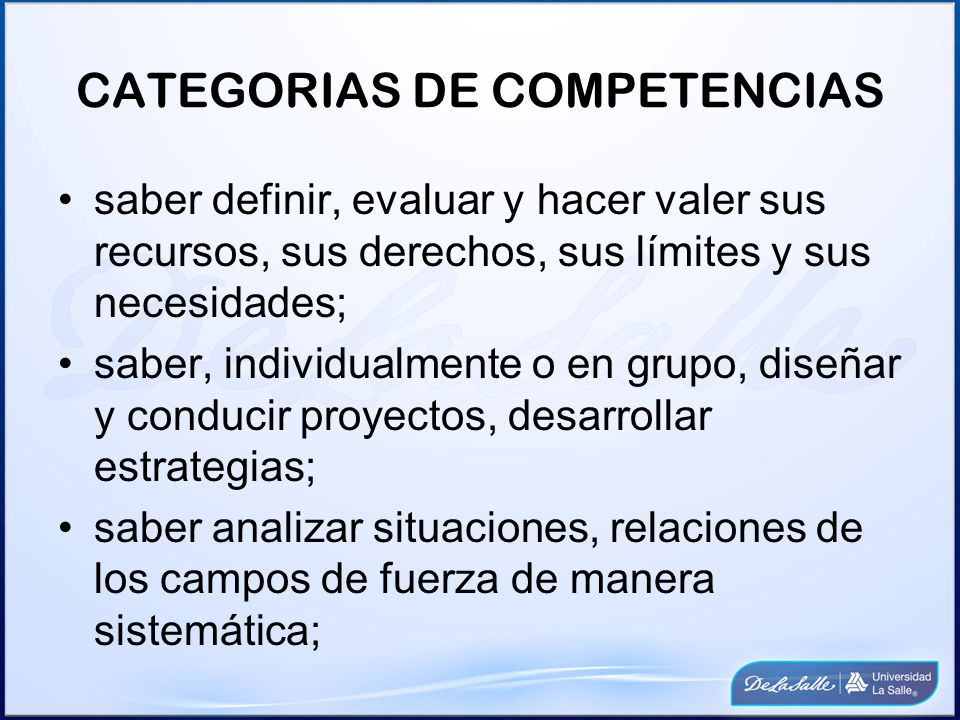 CATEGORIAS DE COMPETENCIAS