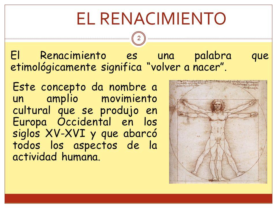 EL RENACIMIENTO El Renacimiento es una palabra que etimológicamente significa volver a nacer .
