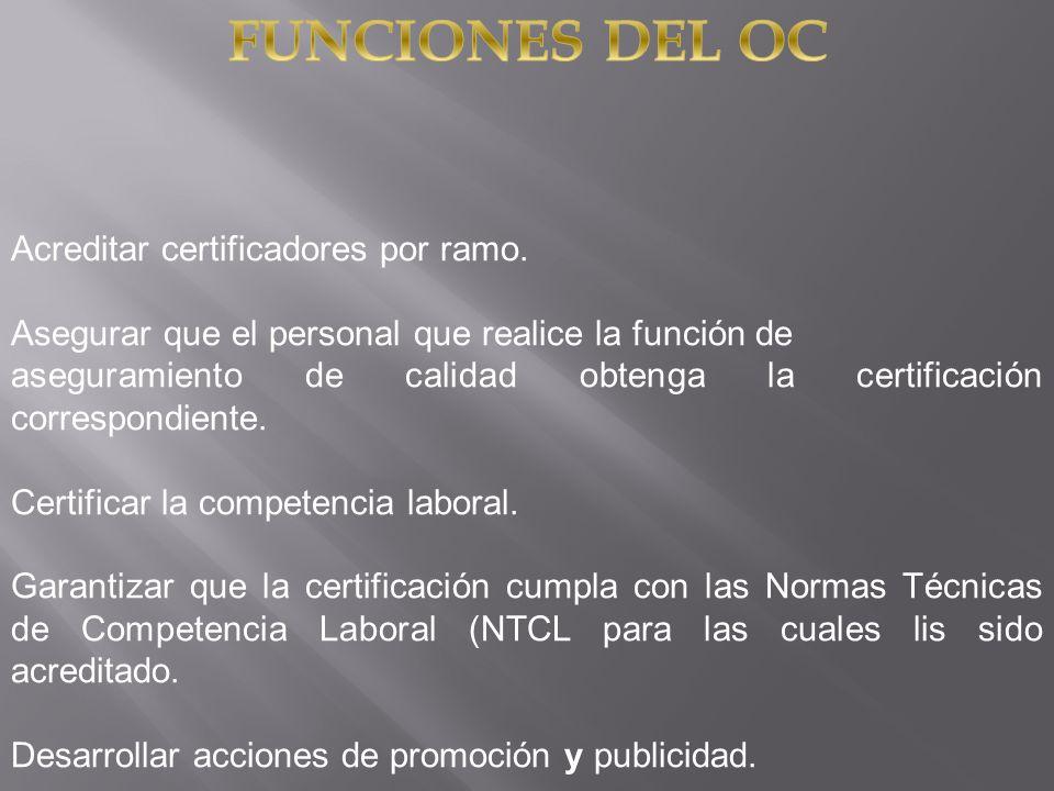 FUNCIONES DEL OC Acreditar certificadores por ramo.