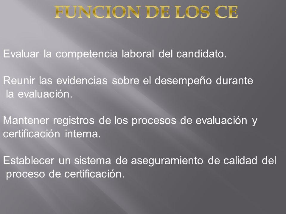FUNCION DE LOS CE Evaluar la competencia laboral del candidato.