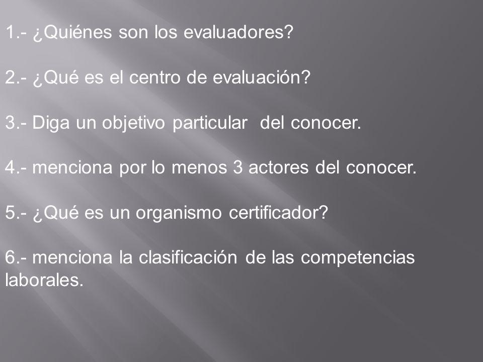 1.- ¿Quiénes son los evaluadores