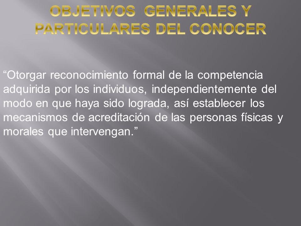 OBJETIVOS GENERALES Y PARTICULARES DEL CONOCER