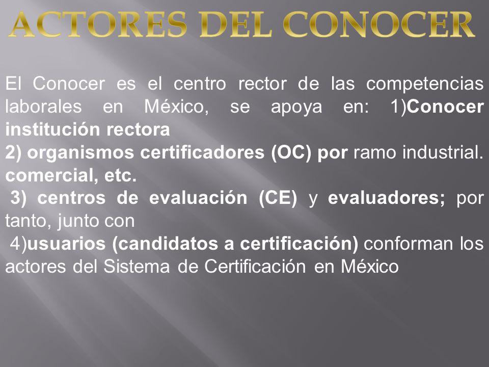 ACTORES DEL CONOCER El Conocer es el centro rector de las competencias laborales en México, se apoya en: 1)Conocer institución rectora.