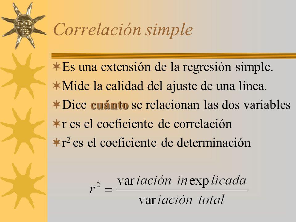 Correlación simple Es una extensión de la regresión simple.