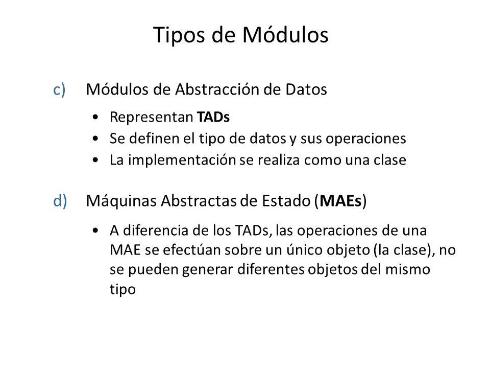 Tipos de Módulos Módulos de Abstracción de Datos