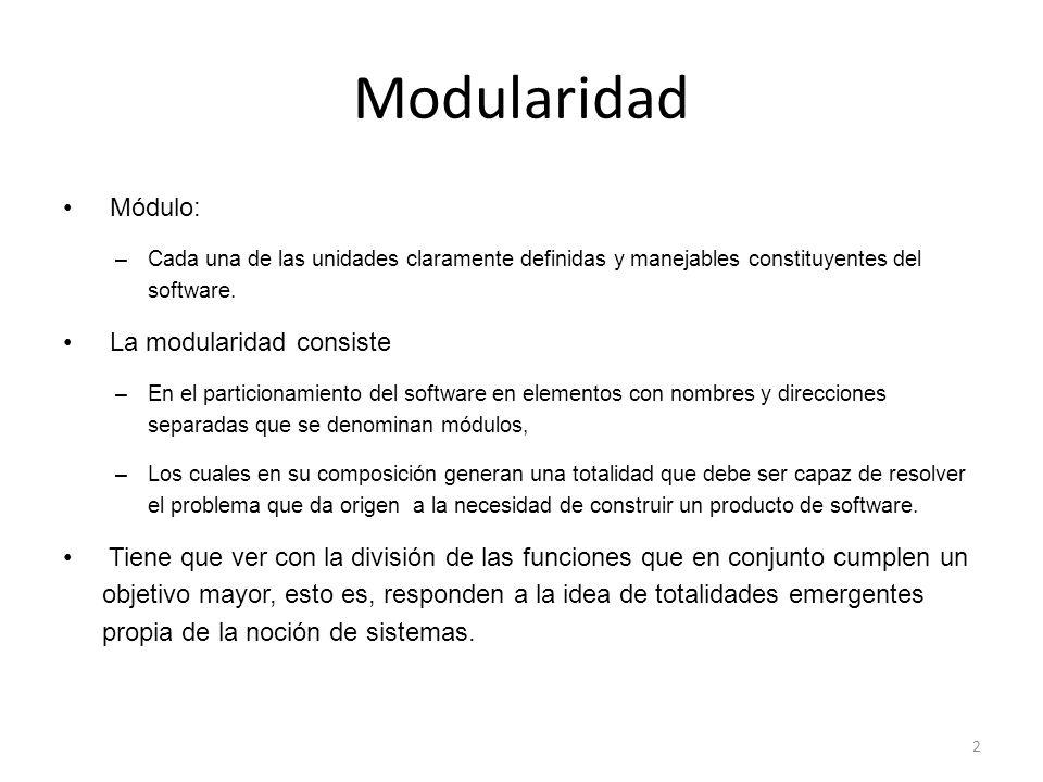 Modularidad Módulo: La modularidad consiste