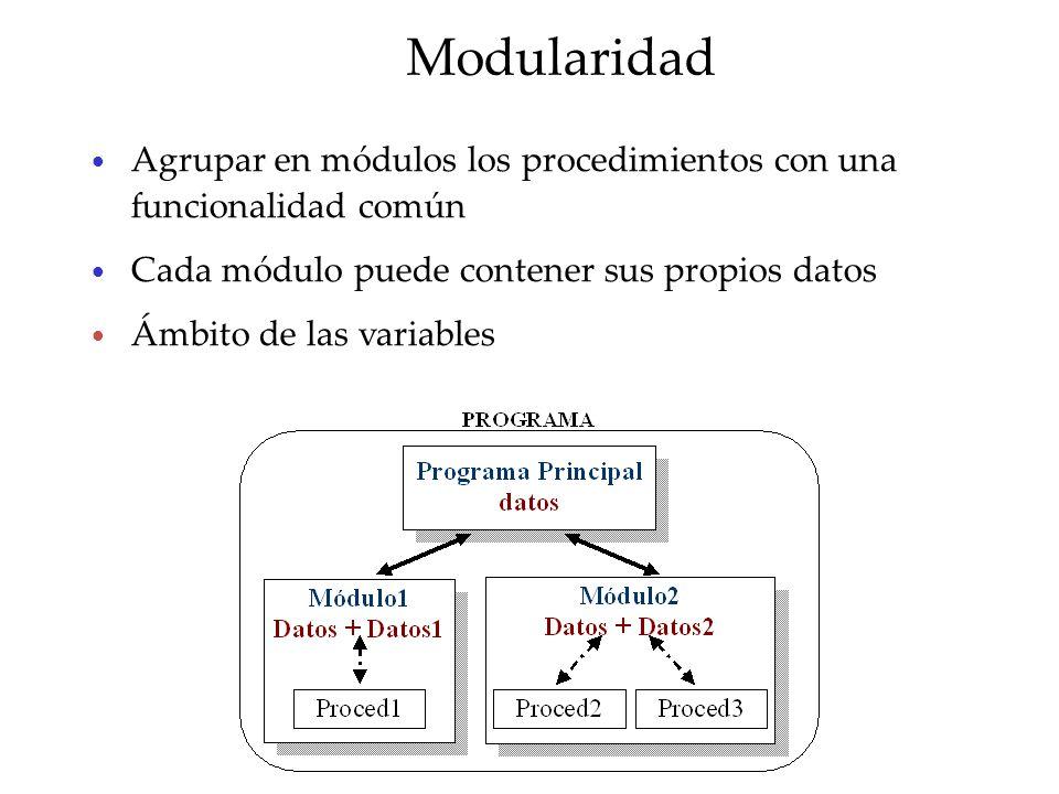 Modularidad Agrupar en módulos los procedimientos con una funcionalidad común. Cada módulo puede contener sus propios datos.