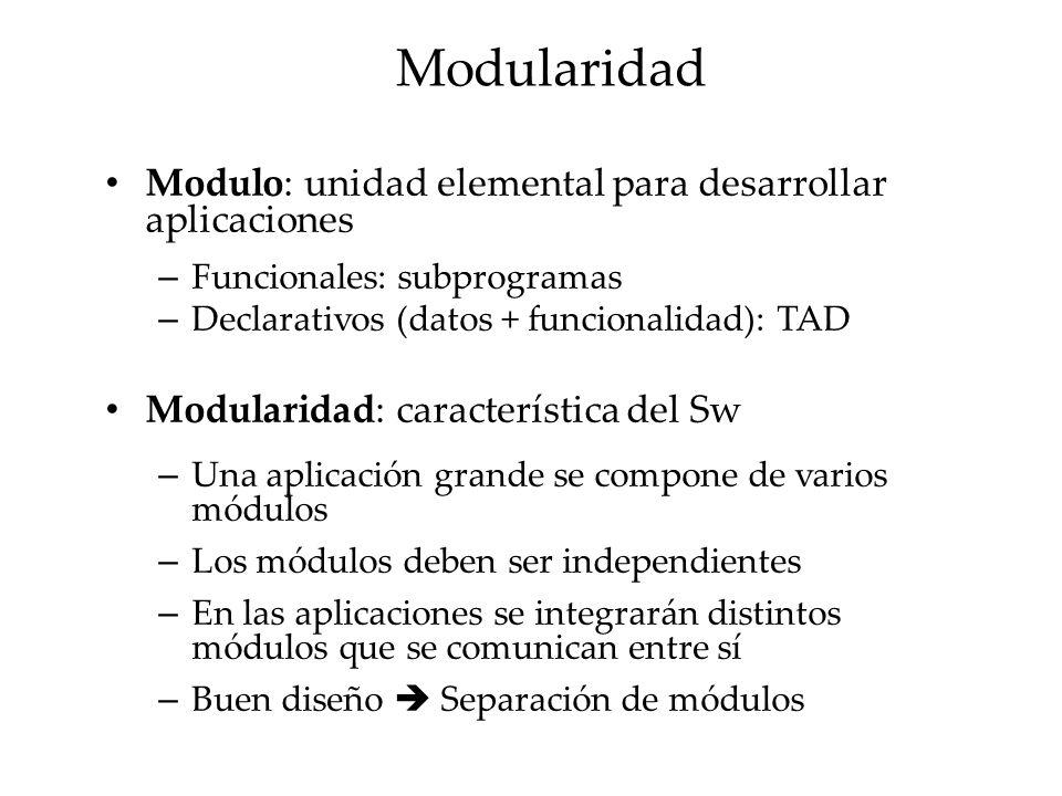 Modularidad Modulo: unidad elemental para desarrollar aplicaciones