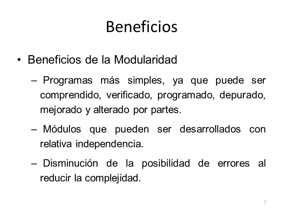 Beneficios Beneficios de la Modularidad
