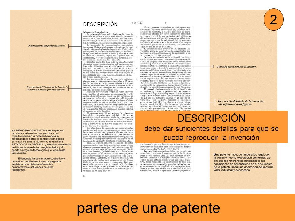 partes de una patente 2 DESCRIPCIÓN