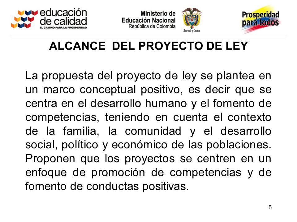 ALCANCE DEL PROYECTO DE LEY