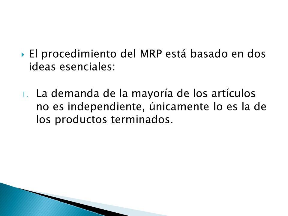 El procedimiento del MRP está basado en dos ideas esenciales: