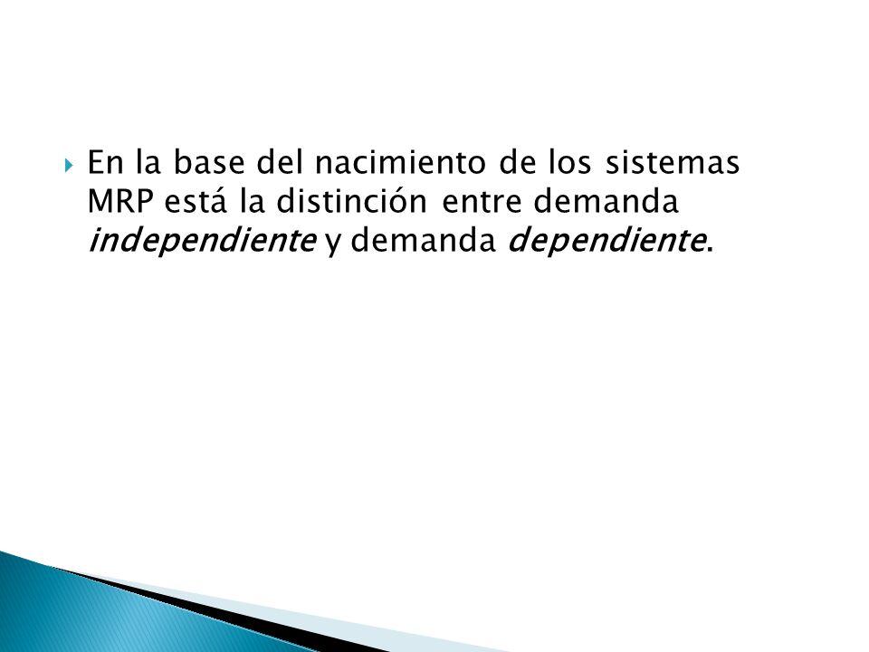 En la base del nacimiento de los sistemas MRP está la distinción entre demanda independiente y demanda dependiente.