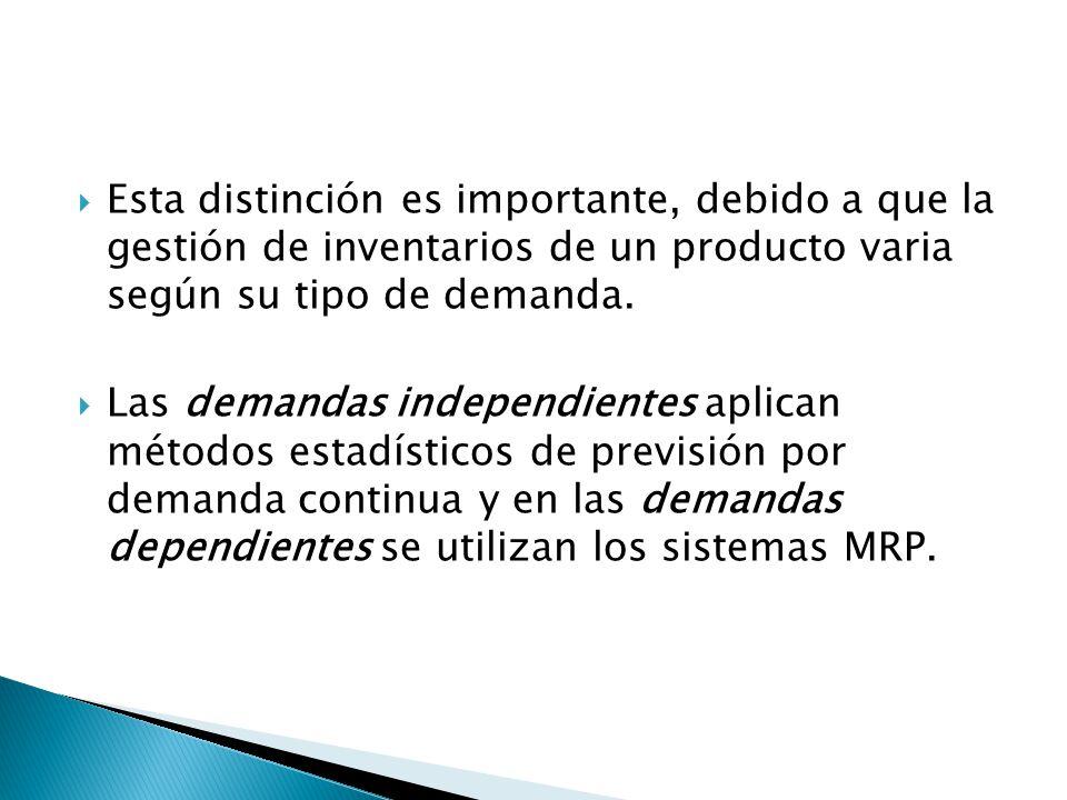 Esta distinción es importante, debido a que la gestión de inventarios de un producto varia según su tipo de demanda.