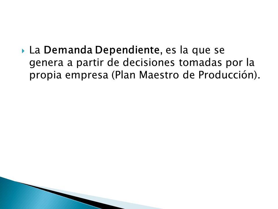La Demanda Dependiente, es la que se genera a partir de decisiones tomadas por la propia empresa (Plan Maestro de Producción).