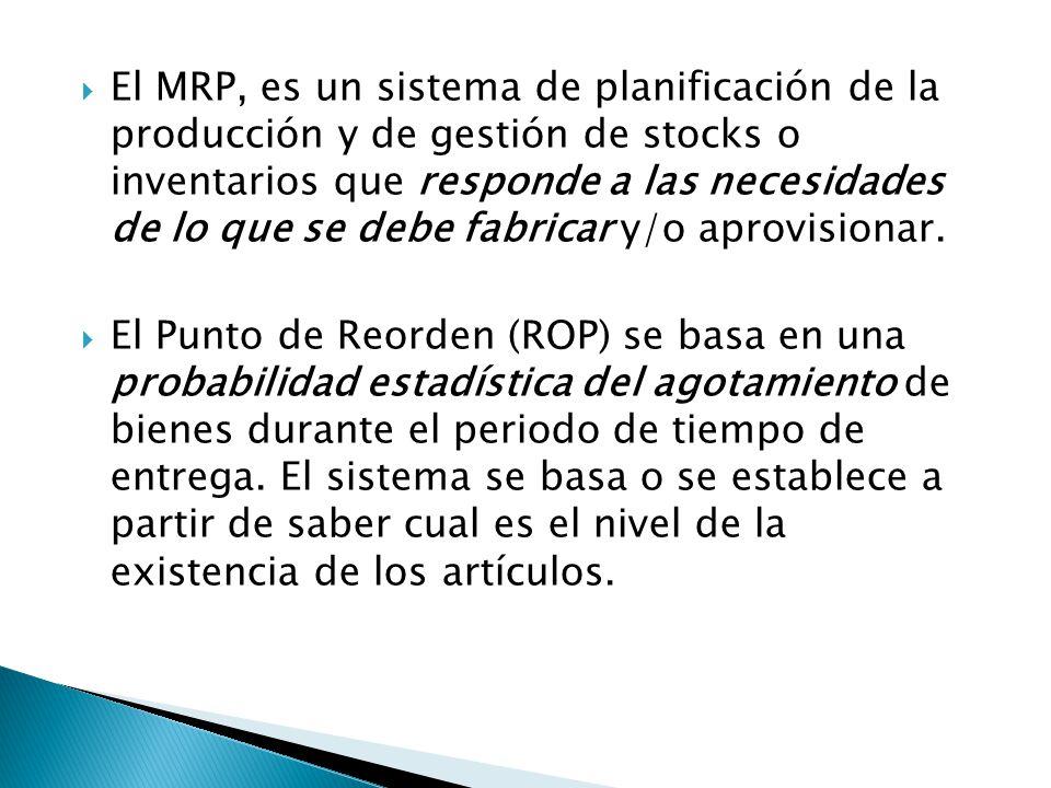 El MRP, es un sistema de planificación de la producción y de gestión de stocks o inventarios que responde a las necesidades de lo que se debe fabricar y/o aprovisionar.