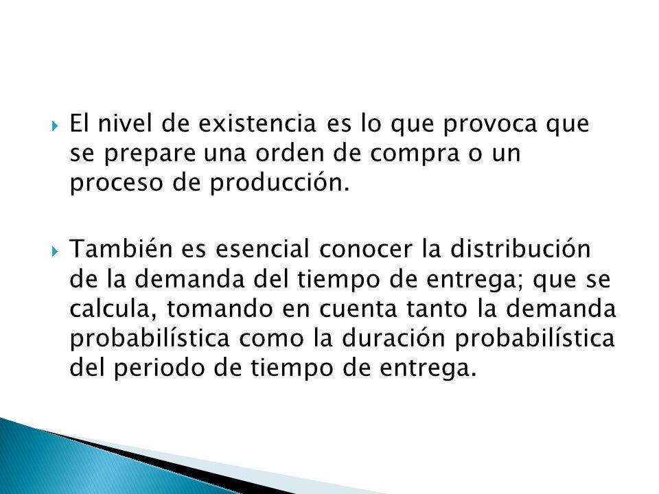El nivel de existencia es lo que provoca que se prepare una orden de compra o un proceso de producción.